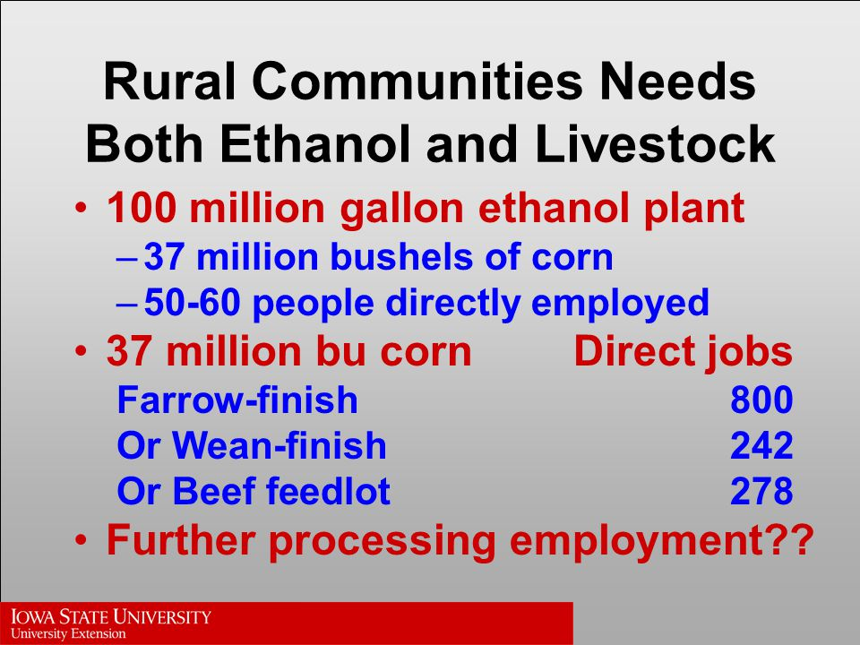 Rural Communities Needs Both Ethanol and Livestock 100 million gallon ethanol plant –37 million bushels of corn –50-60 people directly employed 37 million bu cornDirect jobs Farrow-finish800 Or Wean-finish242 Or Beef feedlot278 Further processing employment