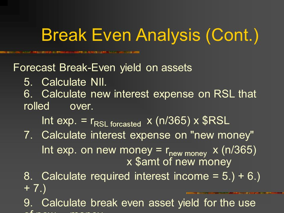 Break Even Analysis (Cont.) Forecast Break-Even yield on assets 5.Calculate NII.