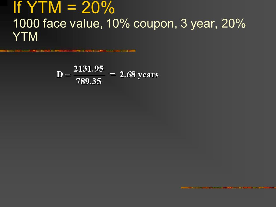 If YTM = 20% 1000 face value, 10% coupon, 3 year, 20% YTM