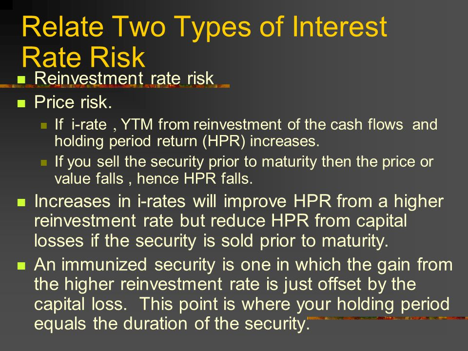 Relate Two Types of Interest Rate Risk Reinvestment rate risk Price risk.