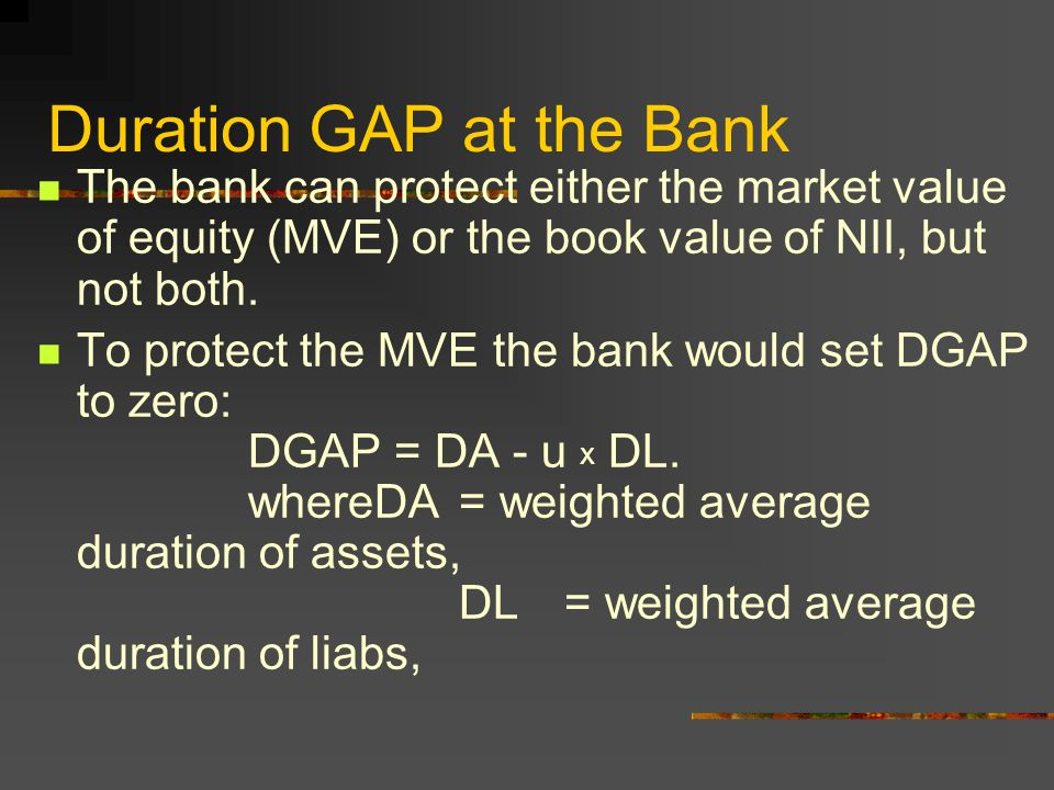Duration GAP at the Bank The bank can protect either the market value of equity (MVE) or the book value of NII, but not both.