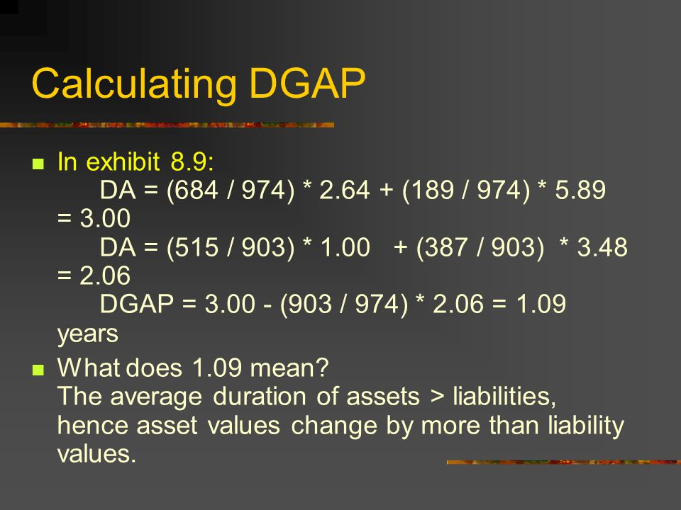 Calculating DGAP In exhibit 8.9: DA = (684 / 974) * (189 / 974) * 5.89 = 3.00 DA = (515 / 903) * (387 / 903) * 3.48 = 2.06 DGAP = (903 / 974) * 2.06 = 1.09 years What does 1.09 mean.