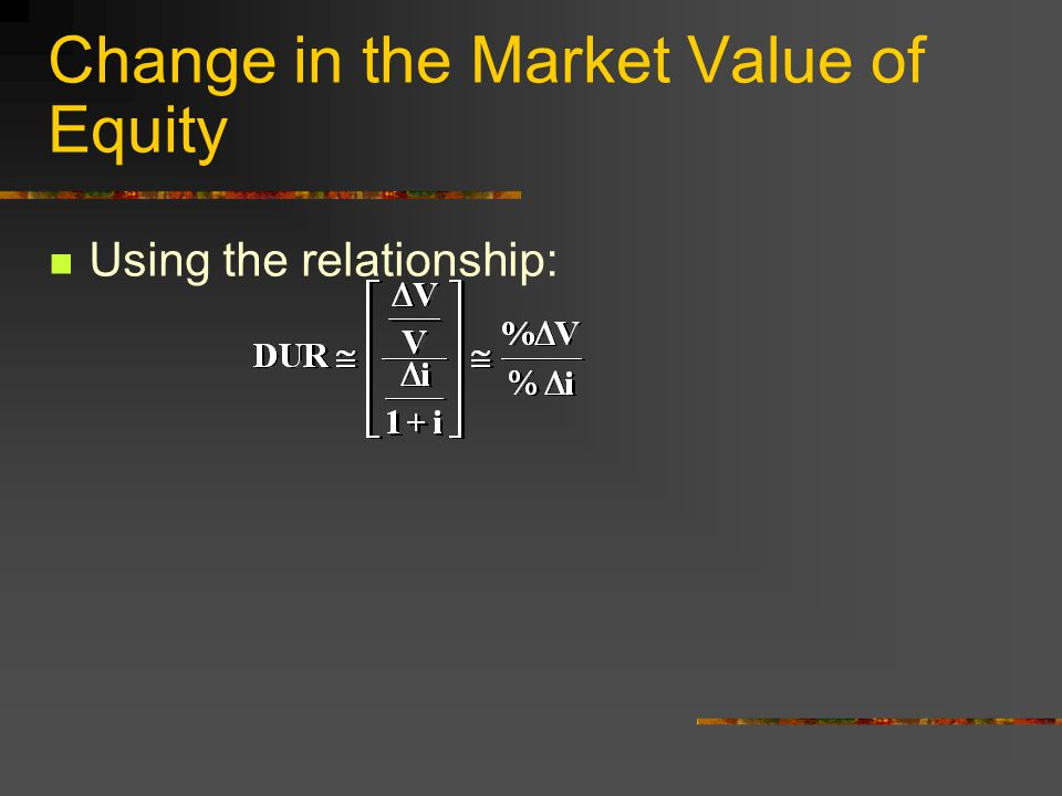 Change in the Market Value of Equity Using the relationship: