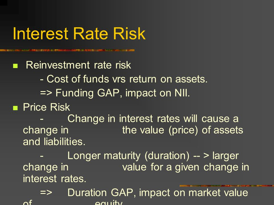 Interest Rate Risk Reinvestment rate risk - Cost of funds vrs return on assets.