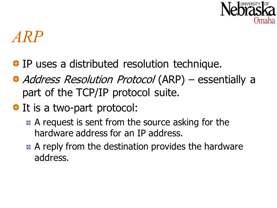ARP IP uses a distributed resolution technique.