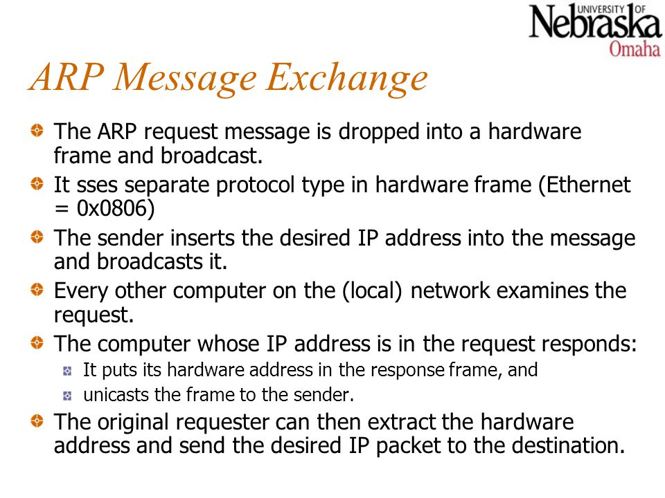 ARP Message Exchange The ARP request message is dropped into a hardware frame and broadcast.