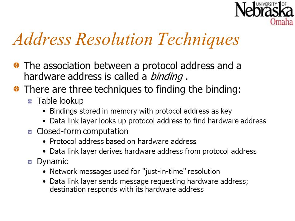 Address Resolution Techniques The association between a protocol address and a hardware address is called a binding.
