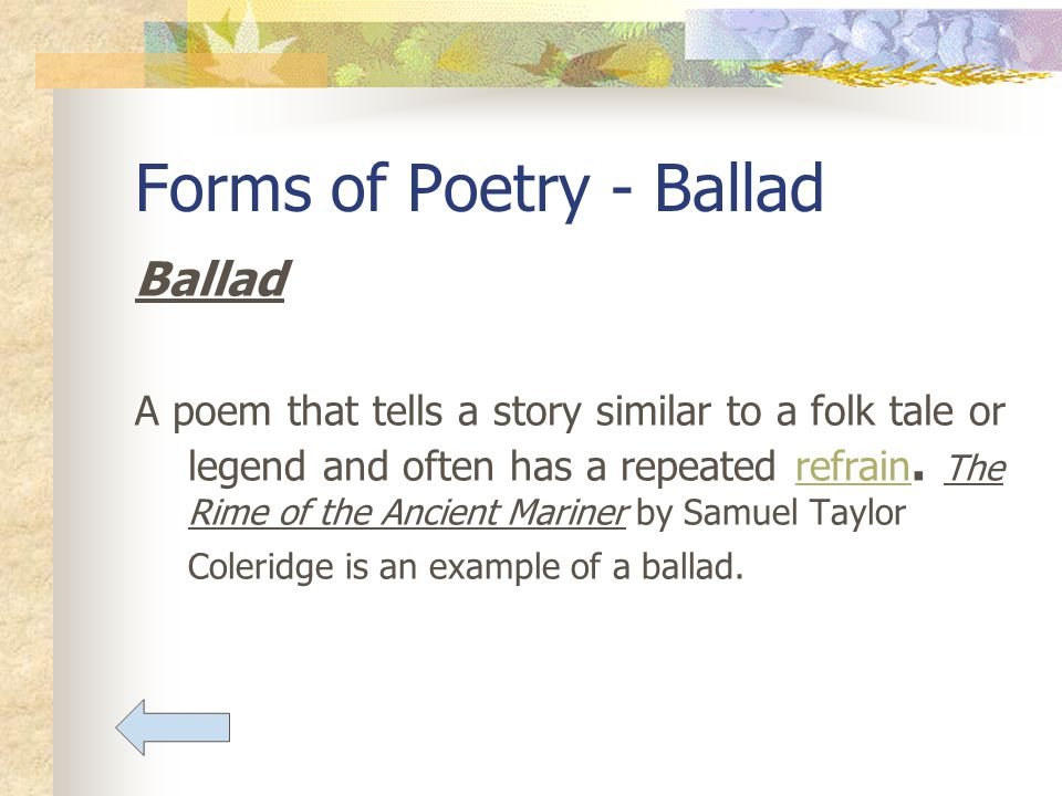 Poetry Forms Of Aspects Ballad