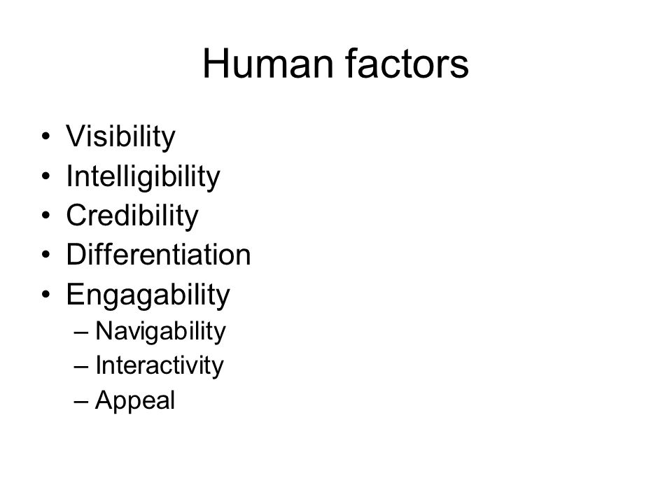 Human factors Visibility Intelligibility Credibility Differentiation Engagability –Navigability –Interactivity –Appeal