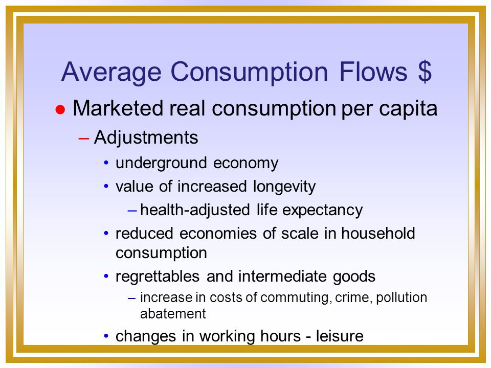 Model Consumption flows Stocks of wealth Economic equality Economic security Economic Well-Being