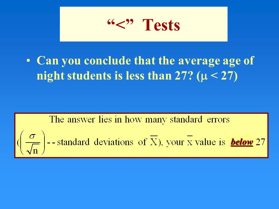 < Tests Can you conclude that the average age of night students is less than 27 (  < 27) below