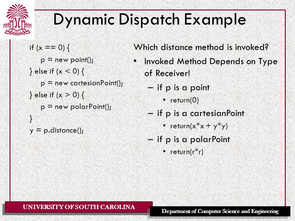 UNIVERSITY OF SOUTH CAROLINA Department of Computer Science and Engineering Dynamic Dispatch Example if (x == 0) { p = new point(); } else if (x < 0) { p = new cartesianPoint(); } else if (x > 0) { p = new polarPoint(); } y = p.distance(); Which distance method is invoked.