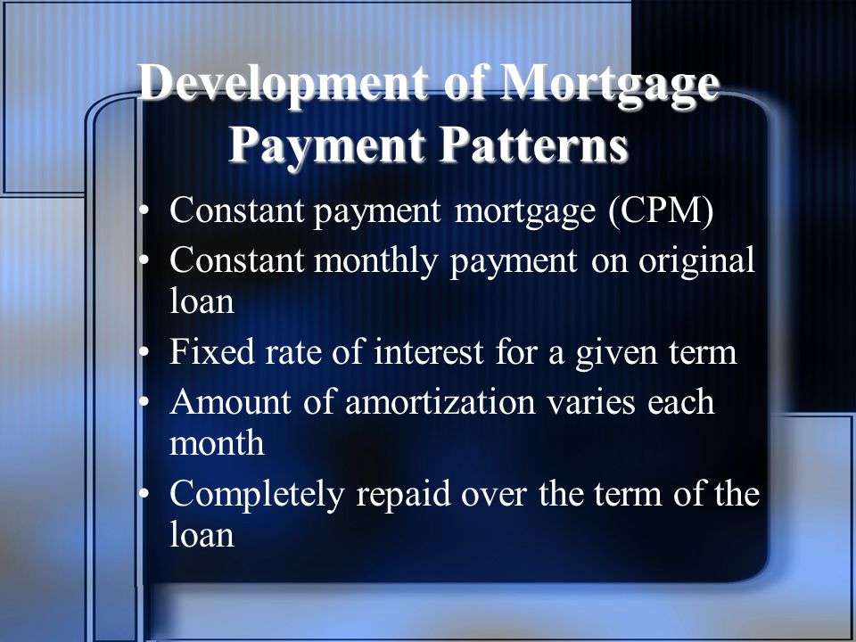 Development of Mortgage Payment Patterns Constant payment mortgage (CPM) Constant monthly payment on original loan Fixed rate of interest for a given term Amount of amortization varies each month Completely repaid over the term of the loan