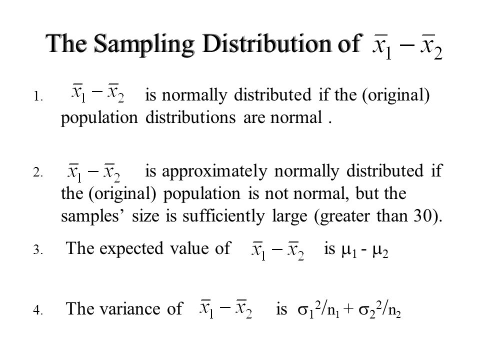 1. is normally distributed if the (original) population distributions are normal.