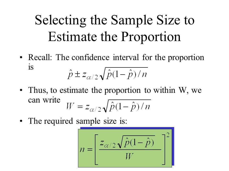 Selecting the Sample Size to Estimate the Proportion Recall: The confidence interval for the proportion is Thus, to estimate the proportion to within W, we can write The required sample size is:
