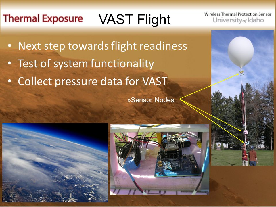 Next step towards flight readiness Test of system functionality Collect pressure data for VAST VAST Flight »Sensor Nodes