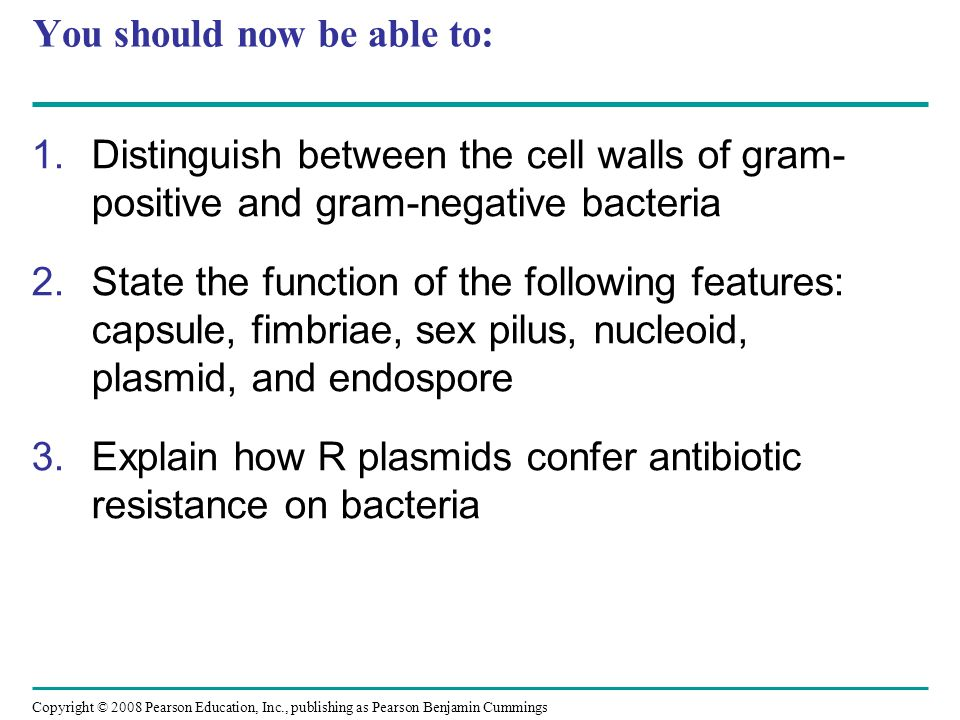 Copyright © 2008 Pearson Education, Inc., publishing as Pearson Benjamin Cummings You should now be able to: 1.Distinguish between the cell walls of gram- positive and gram-negative bacteria 2.State the function of the following features: capsule, fimbriae, sex pilus, nucleoid, plasmid, and endospore 3.Explain how R plasmids confer antibiotic resistance on bacteria