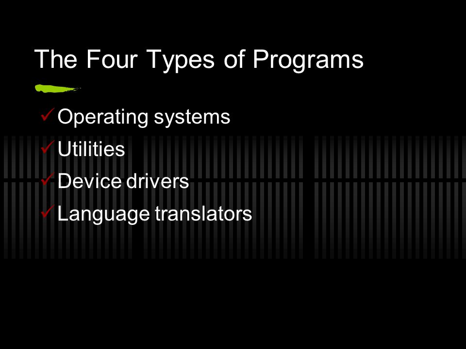 The Four Types of Programs Operating systems Utilities Device drivers Language translators