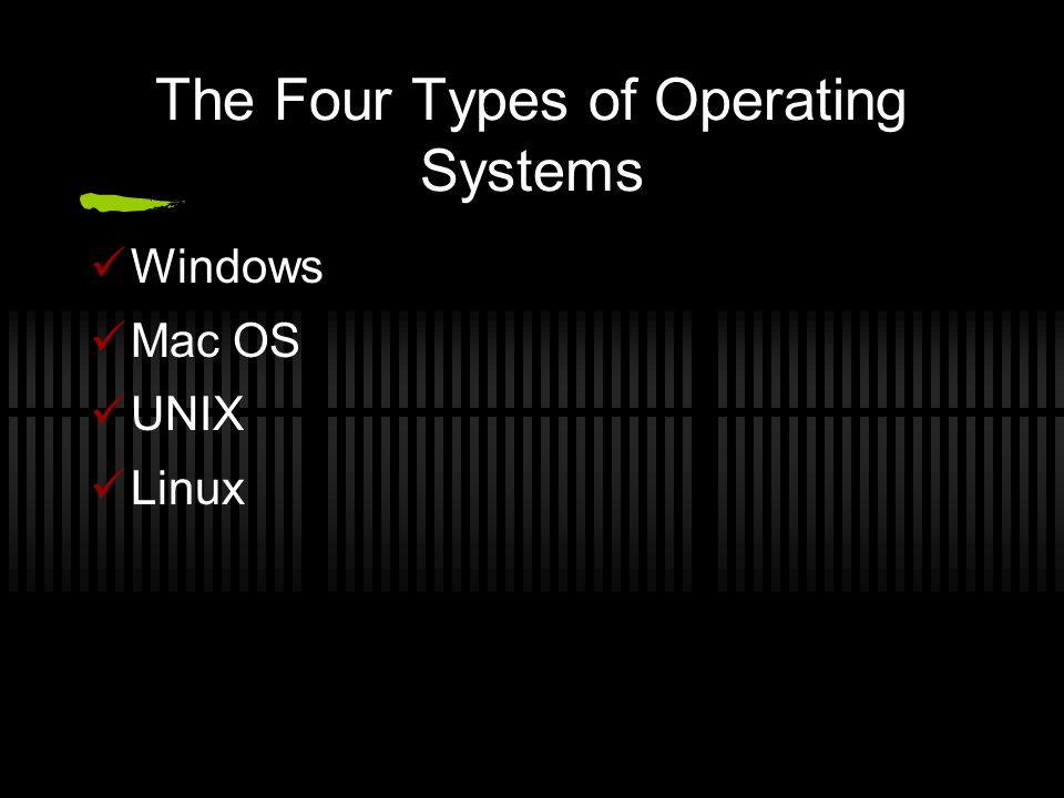 The Four Types of Operating Systems Windows Mac OS UNIX Linux