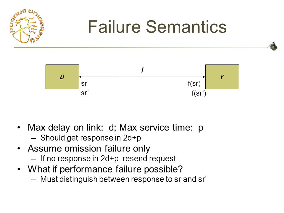 Failure Semantics Max delay on link: d; Max service time: p –S–Should get response in 2d+p Assume omission failure only –I–If no response in 2d+p, resend request What if performance failure possible.