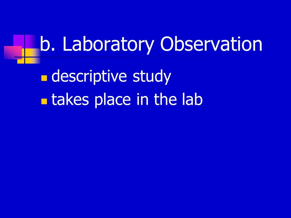 b. Laboratory Observation descriptive study takes place in the lab