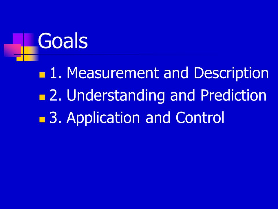 Goals 1.Measurement and Description 2.Understanding and Prediction 3.Application and Control