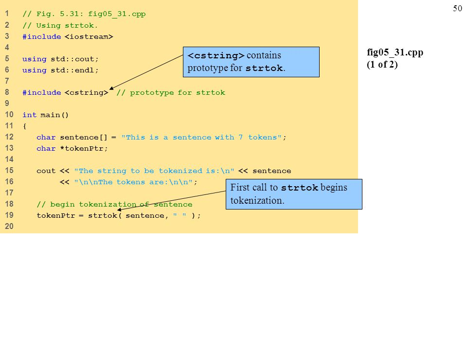 50 fig05_31.cpp (1 of 2) 1 // Fig. 5.31: fig05_31.cpp 2 // Using strtok.