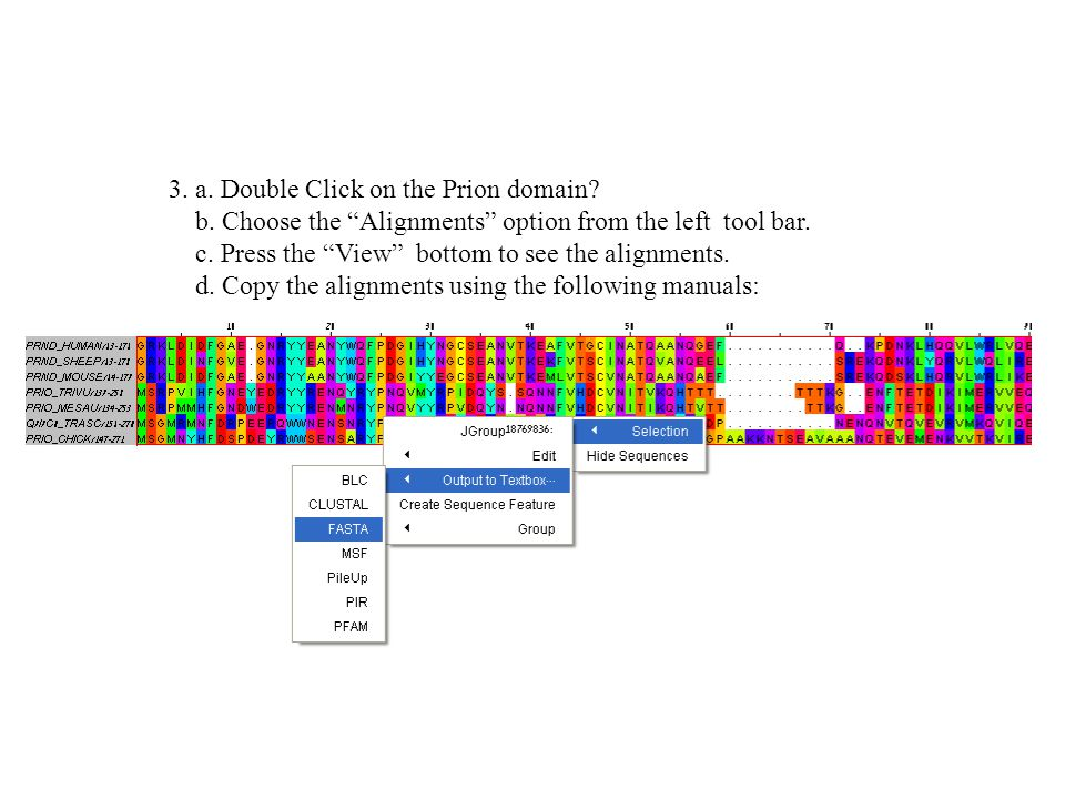 3. a. Double Click on the Prion domain. b.