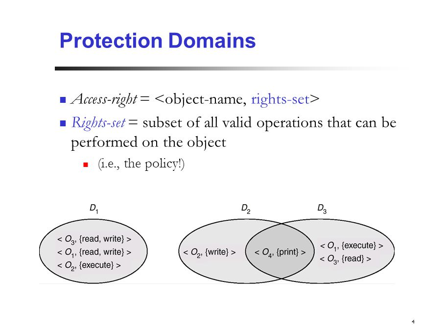 4 Protection Domains Access-right = Rights-set = subset of all valid operations that can be performed on the object (i.e., the policy!) Domain = set of access-rights