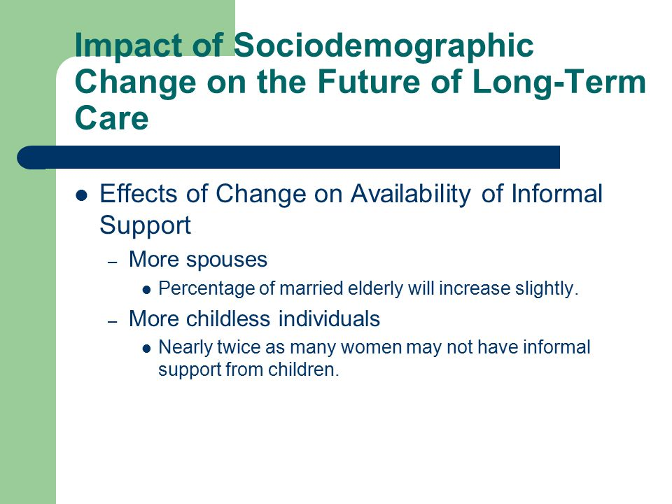 Impact of Sociodemographic Change on the Future of Long-Term Care Effects of Change on Availability of Informal Support – More spouses Percentage of married elderly will increase slightly.