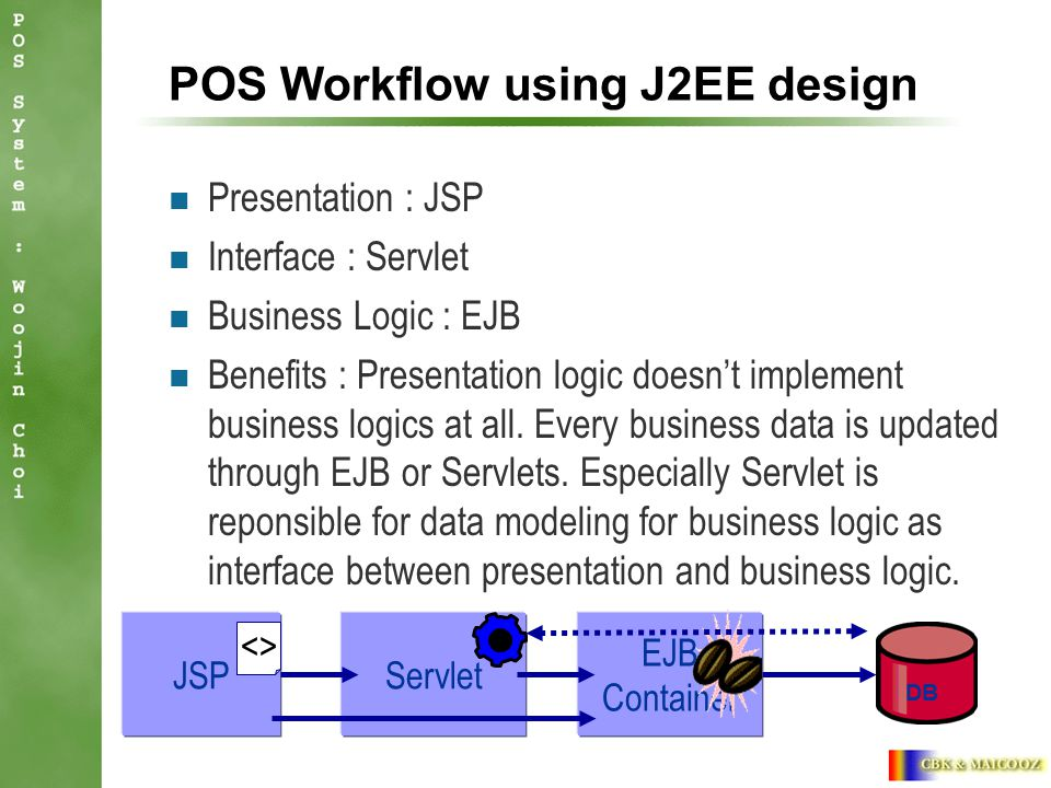 POS Workflow using J2EE design Presentation : JSP Interface : Servlet Business Logic : EJB Benefits : Presentation logic doesn't implement business logics at all.