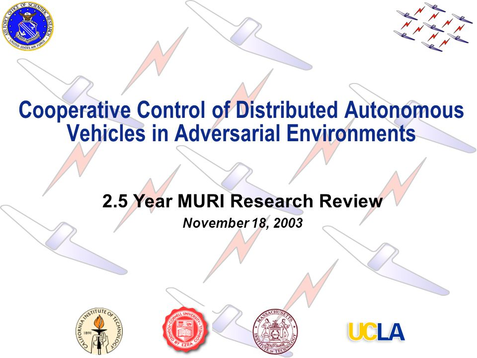 1 Cooperative Control of Distributed Autonomous Vehicles in