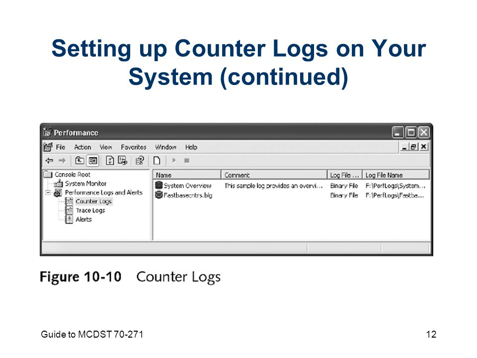 Guide to MCDST Setting up Counter Logs on Your System (continued)