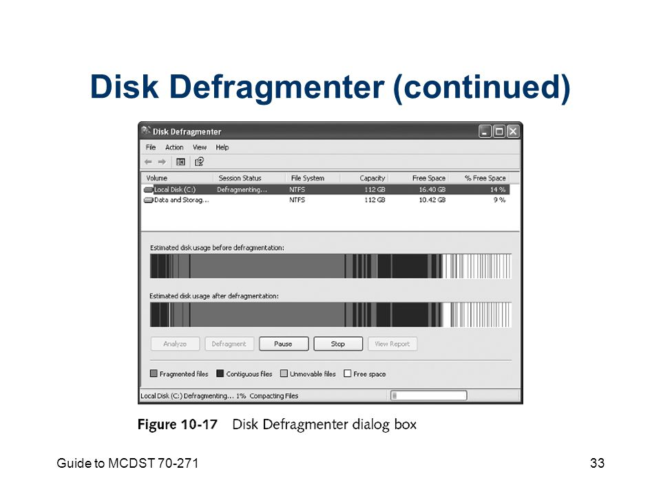 Guide to MCDST Disk Defragmenter (continued)