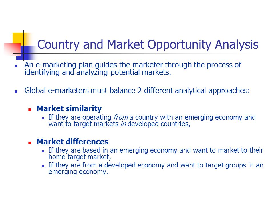Country and Market Opportunity Analysis An e-marketing plan guides the marketer through the process of identifying and analyzing potential markets.