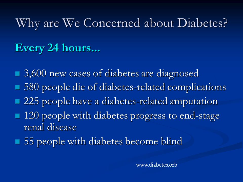 Why are We Concerned about Diabetes. Every 24 hours...