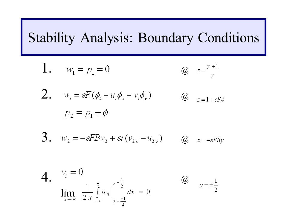 Stability Analysis: Boundary Conditions