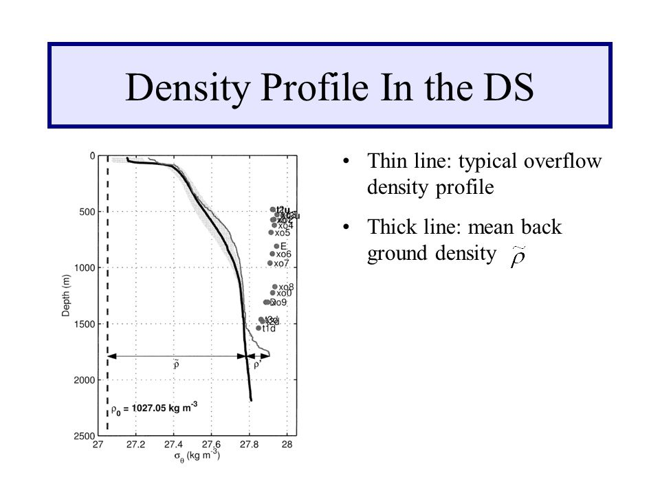 Thin line: typical overflow density profile Thick line: mean back ground density Density Profile In the DS