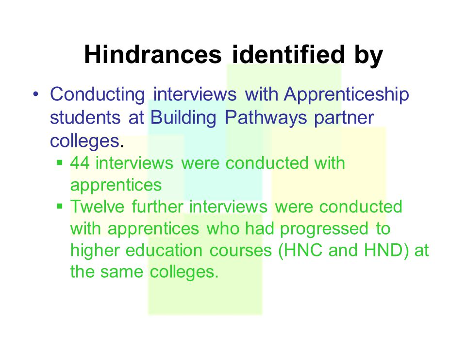 Hindrances identified by Conducting interviews with Apprenticeship students at Building Pathways partner colleges.