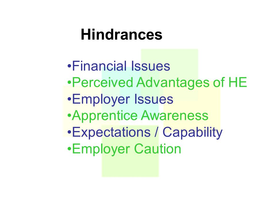 Hindrances Financial Issues Perceived Advantages of HE Employer Issues Apprentice Awareness Expectations / Capability Employer Caution