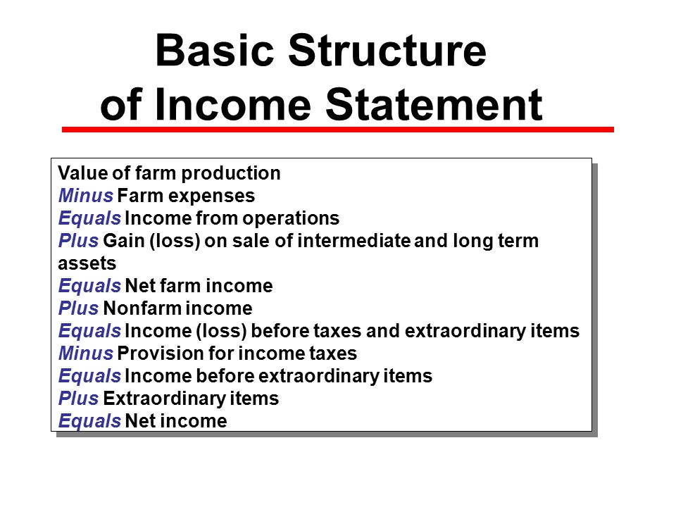 Basic Structure of Income Statement Value of farm production Minus Farm expenses Equals Income from operations Plus Gain (loss) on sale of intermediate and long term assets Equals Net farm income Plus Nonfarm income Equals Income (loss) before taxes and extraordinary items Minus Provision for income taxes Equals Income before extraordinary items Plus Extraordinary items Equals Net income Value of farm production Minus Farm expenses Equals Income from operations Plus Gain (loss) on sale of intermediate and long term assets Equals Net farm income Plus Nonfarm income Equals Income (loss) before taxes and extraordinary items Minus Provision for income taxes Equals Income before extraordinary items Plus Extraordinary items Equals Net income