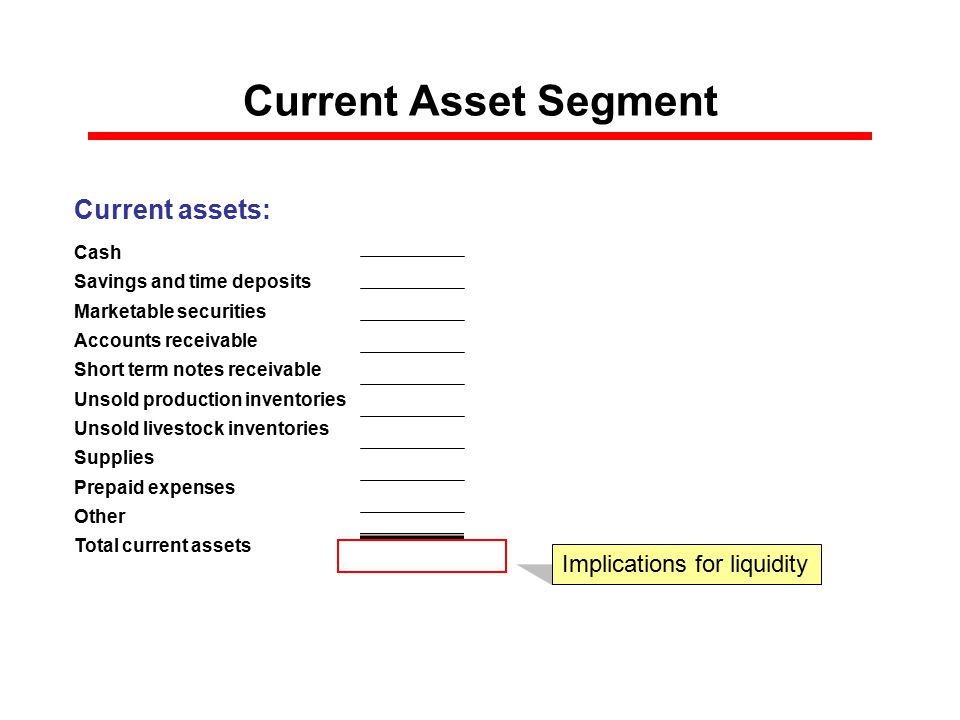 Current Asset Segment Current assets: Cash Savings and time deposits Marketable securities Accounts receivable Short term notes receivable Unsold production inventories Unsold livestock inventories Supplies Prepaid expenses Other Total current assets $0 Implications for liquidity