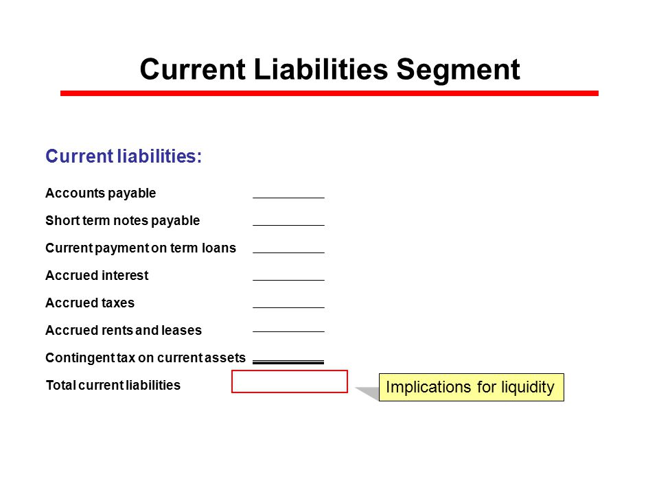Current Liabilities Segment Current liabilities: Accounts payable Short term notes payable Current payment on term loans Accrued interest Accrued taxes Accrued rents and leases Contingent tax on current assets Total current liabilities $0 Implications for liquidity