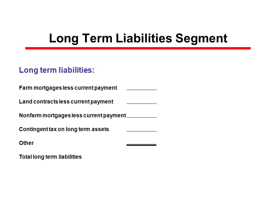 Long Term Liabilities Segment Long term liabilities: Farm mortgages less current payment Land contracts less current payment Nonfarm mortgages less current payment Contingent tax on long term assets Other Total long term liabilities $0