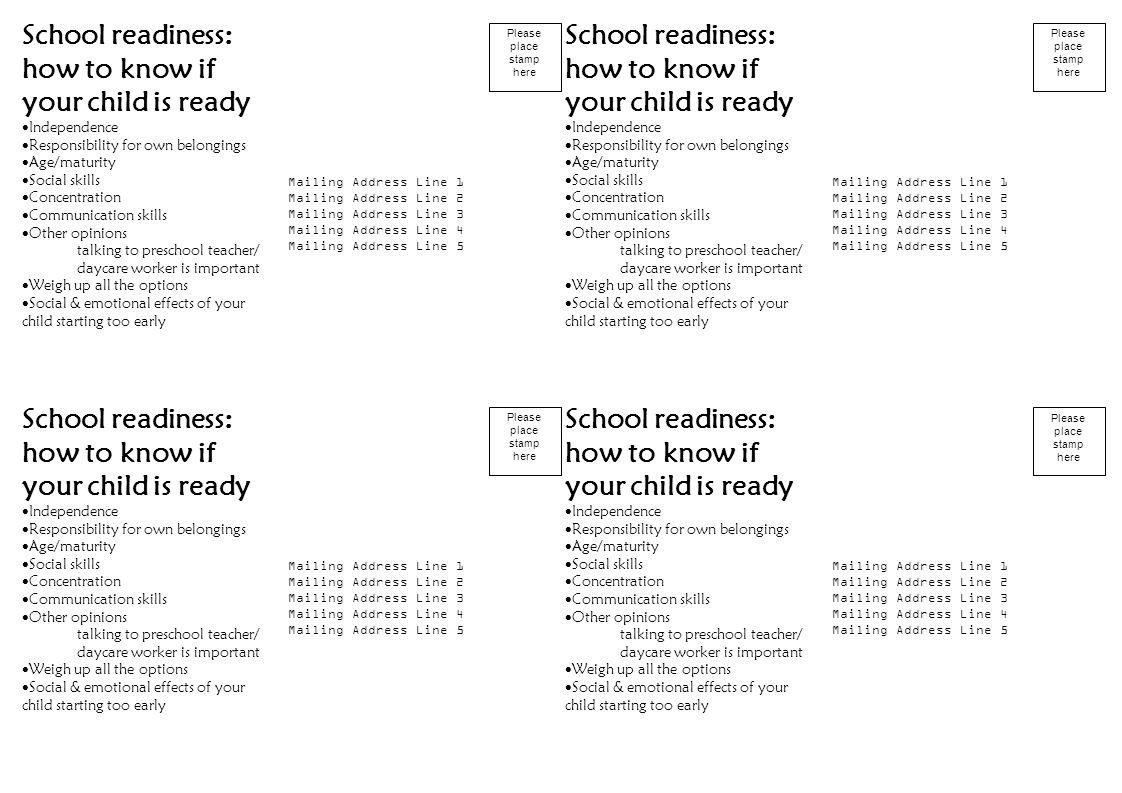 Preschool maturity or readiness for school