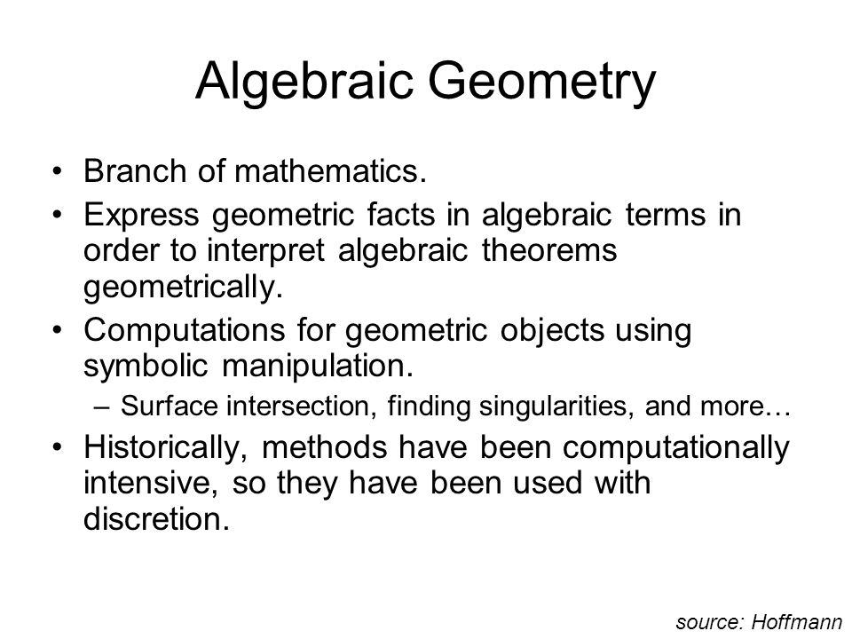 Algebraic Geometry Branch of mathematics.
