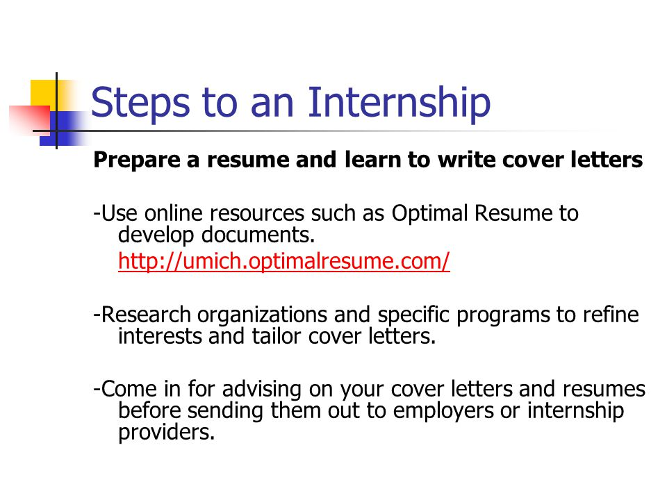 Steps To An Internship Prepare A Resume And Learn Write Cover Letters Use Online