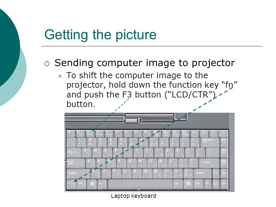 Getting the picture  Sending computer image to projector To shift the computer image to the projector, hold down the function key fn and push the F3 button ( LCD/CTR ) button.