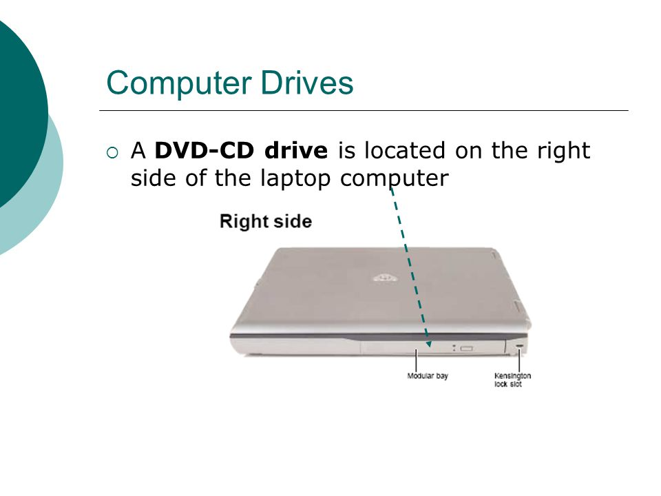 Computer Drives  A DVD-CD drive is located on the right side of the laptop computer