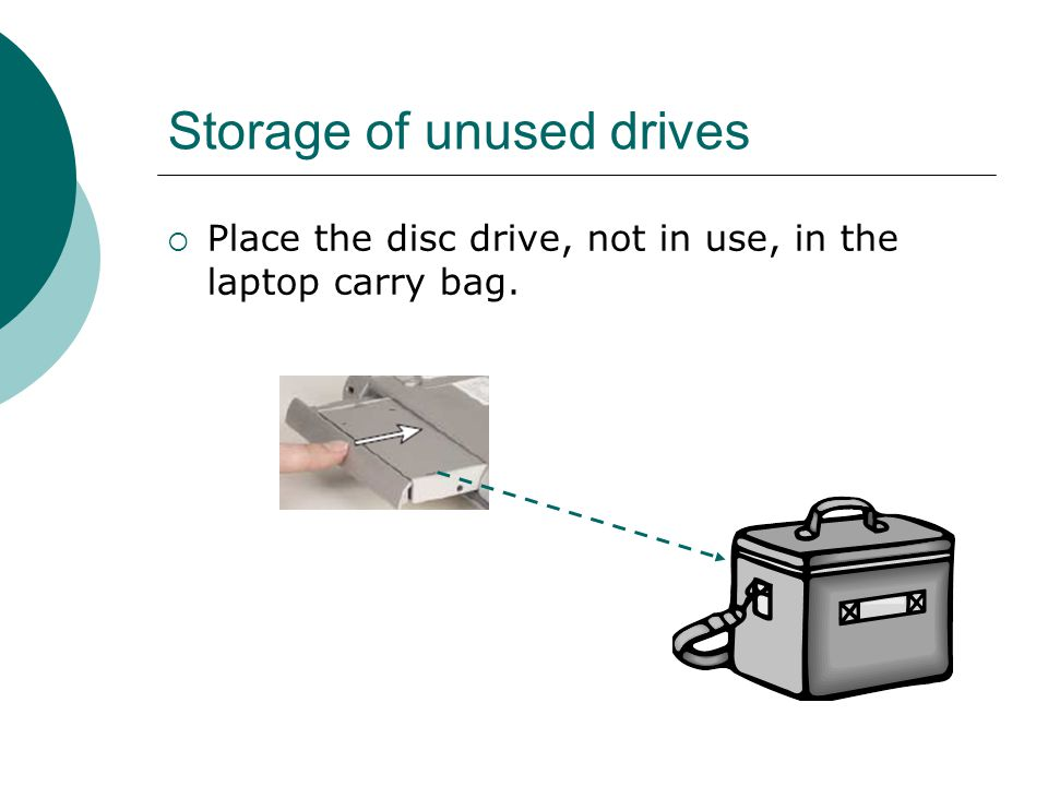 Storage of unused drives  Place the disc drive, not in use, in the laptop carry bag.